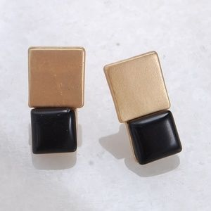 Marbled Square Stone Geometric Jewel Stud Earrings